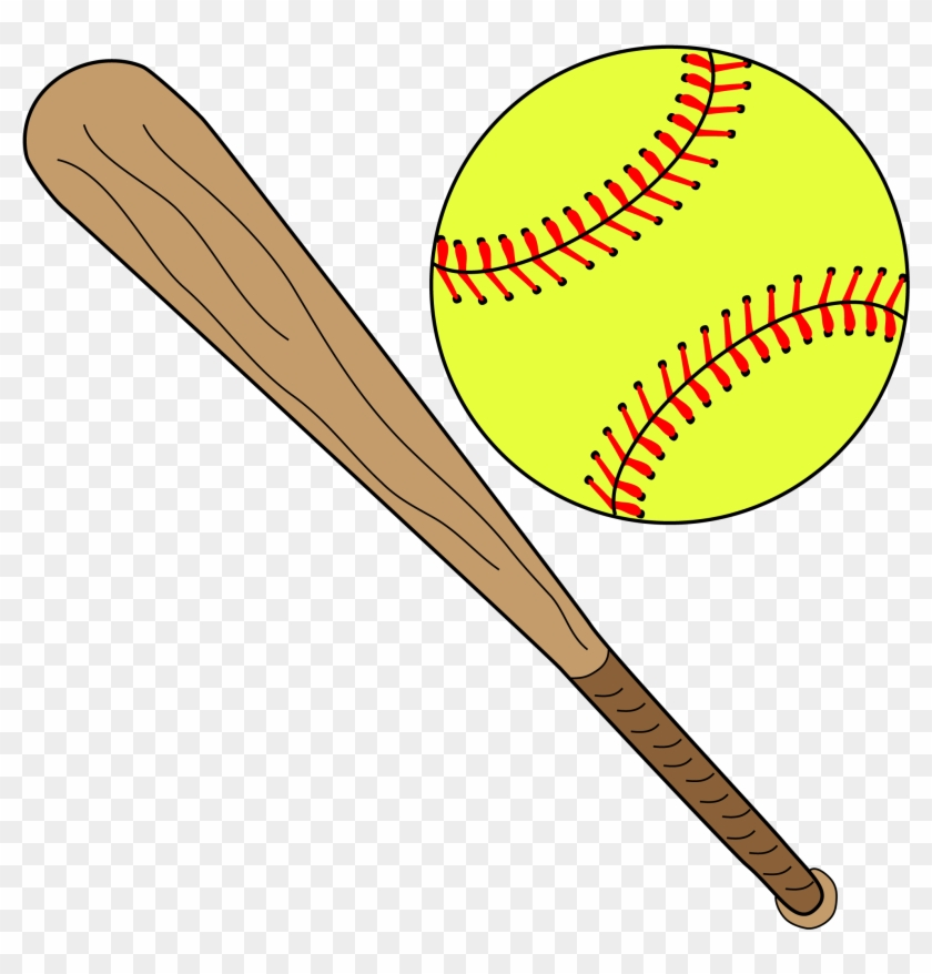 Softball Image - Softball And Bat Clipart #67002