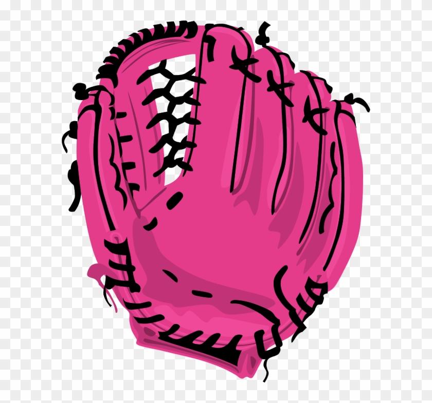 Pink Baseball Clipart - Baseball Glove Shower Curtain #67146