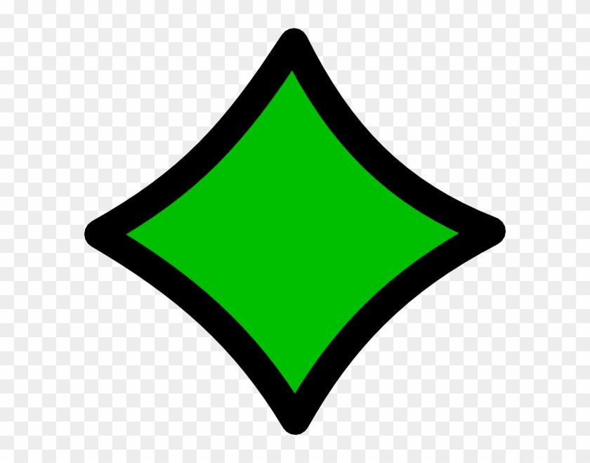 Diamond Green Black Outline Clip Art - Clipart Green Diamond #67201