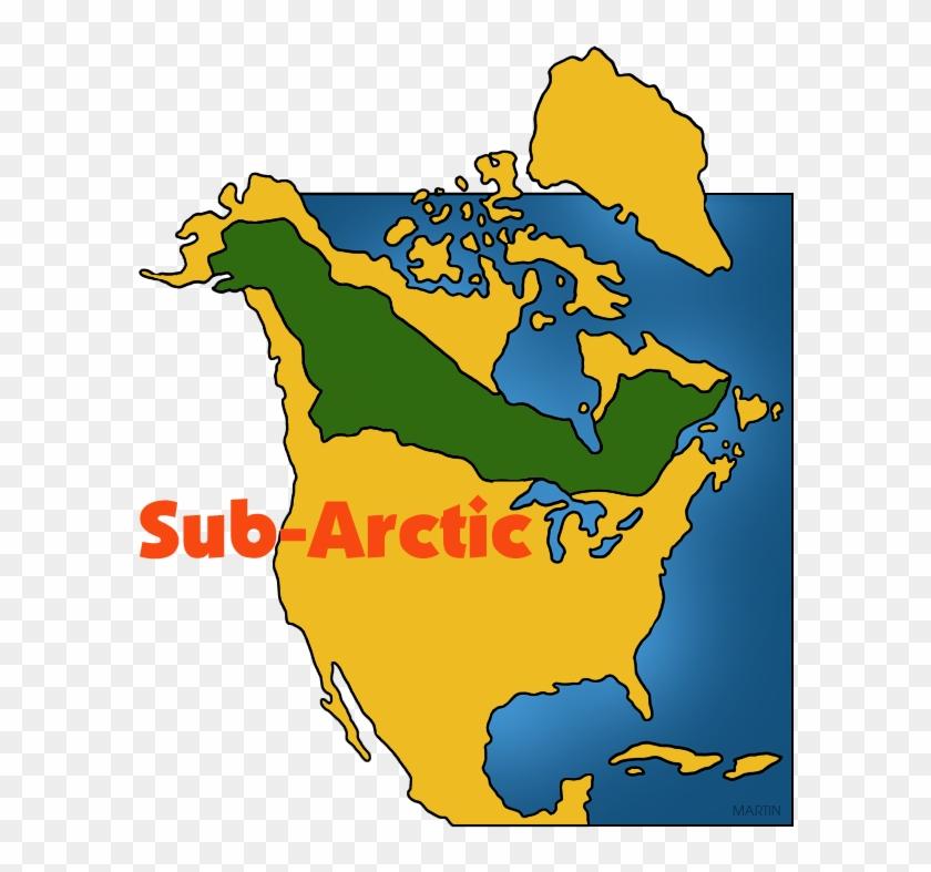 Native Americans Clip Art By Phillip Martin, Sub Arctic - Subarctic Map #67898