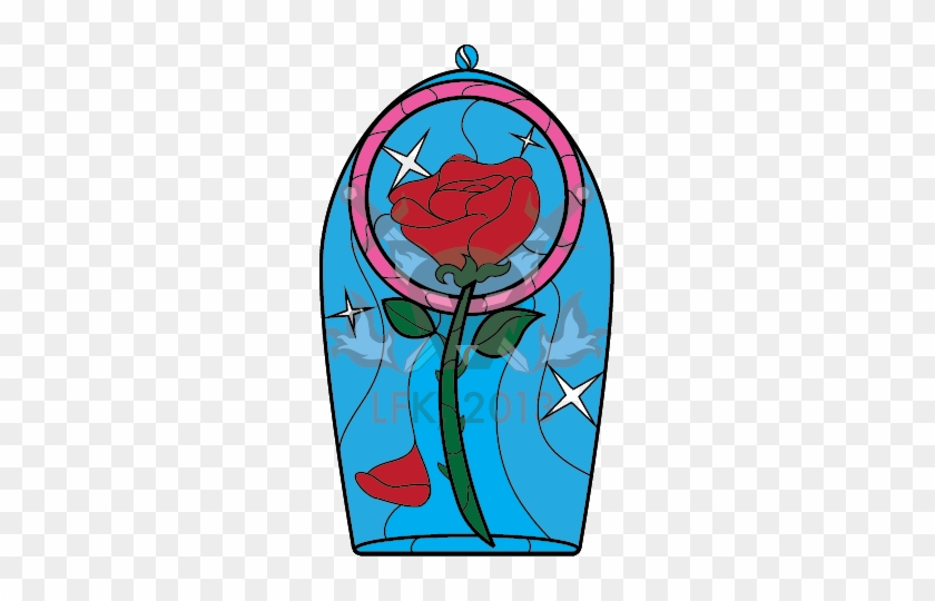 Beauty And The Beast Rose Tattoo By Lady Clipart - Beauty And The Beast Rose Stainedglass Pattern #386101