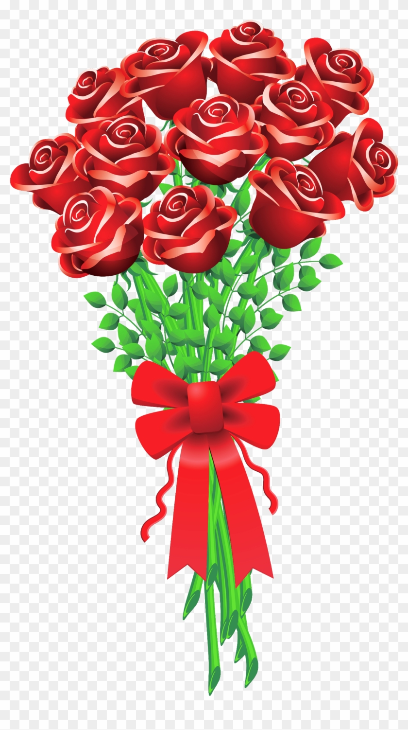 Red Rose Clipart Valentine Rose - Bouquet Of Roses Clipart #386107