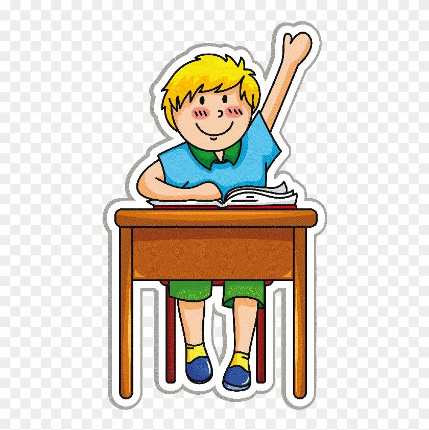 Niños En La Escuela - Student At Desk Cartoon #386296