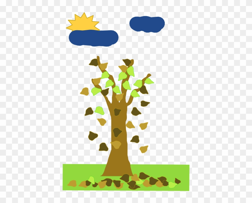 Tree With Leaves Falling Clip Art - Tree Falling Leaf Animation #386548