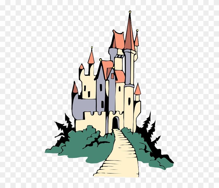 Fairytale Castle, Royal, Path, Towers, Fairytale - Castle On Hill Cartoon #387169