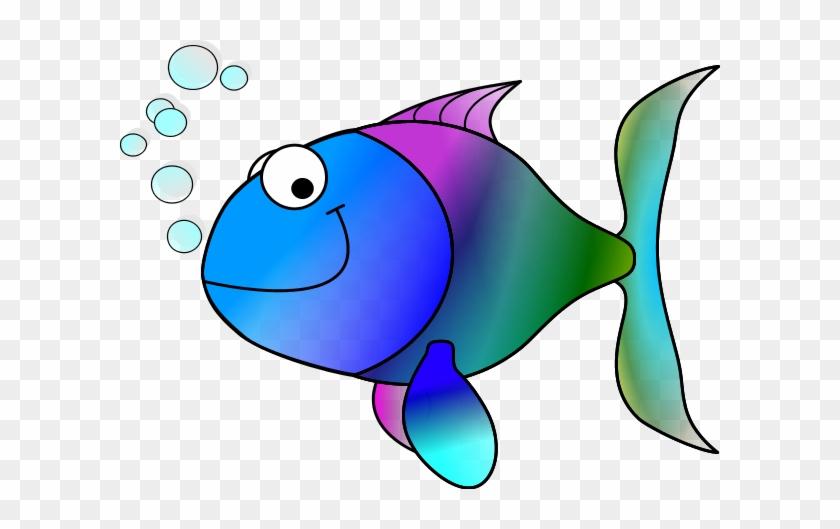 Happy Cartoon Fish - Tropical Fish Shower Curtain #387423