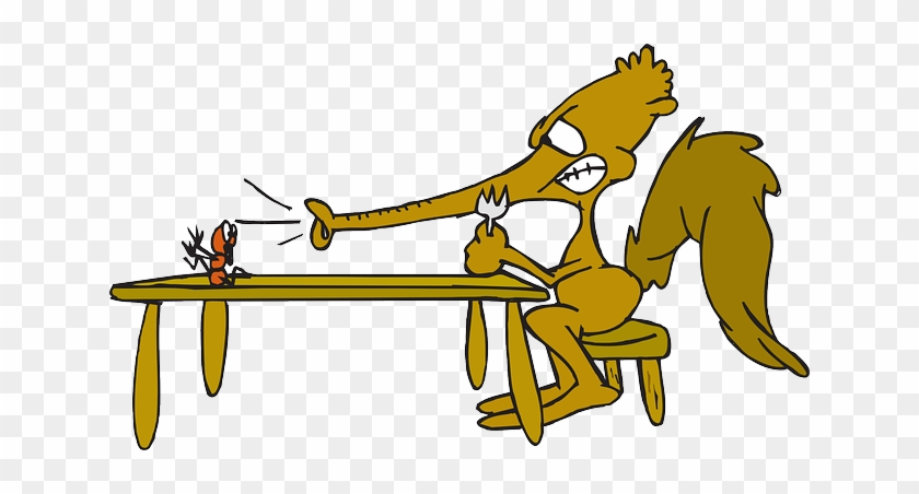 Eating Food, Table, Cartoon, Ant, Fork, Anteater, Eating - Anteater And The Ant Cartoon #388067