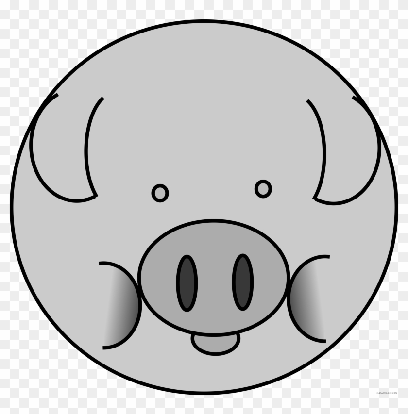 Pig Face Animal Free Black White Clipart Images Clipartblack - Pig Icon #388353