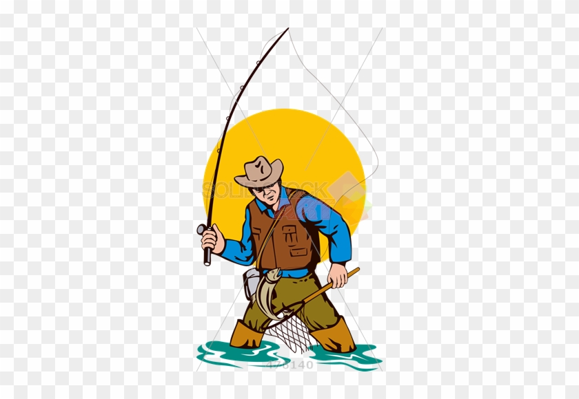 Cartoon Rendering Of Fisherman Fly Fishing Holding - Fly Fishing Clip Art #388830