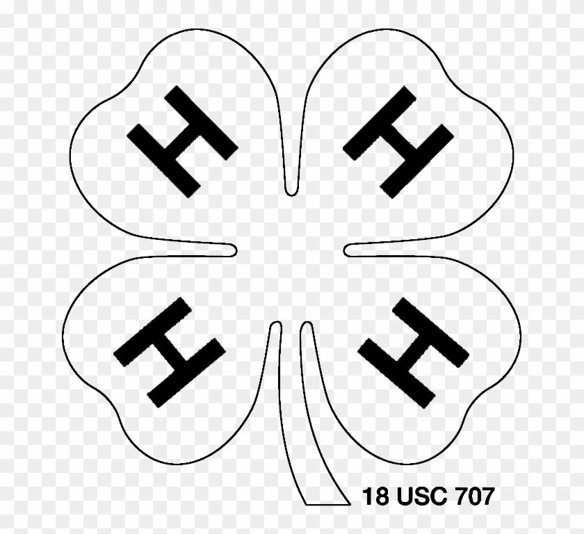 White W/ Black Outline 4-h Clover Png - 4 H Logo White #389080