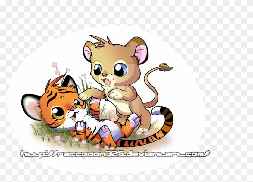 Tiger And Lion Cubs By Celestialgalaxies - Tiger And Lion Anime #389401