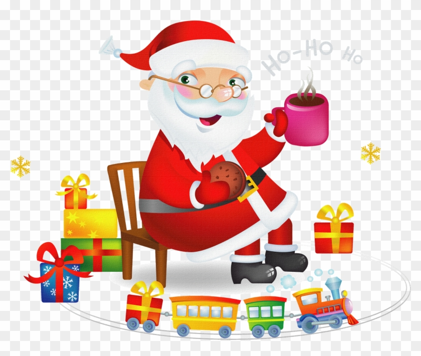 Buy Santa Claus With Tea And Cookies By Azzzzya On - Santa With Hot Tea And Cookies Shot Glass #389513