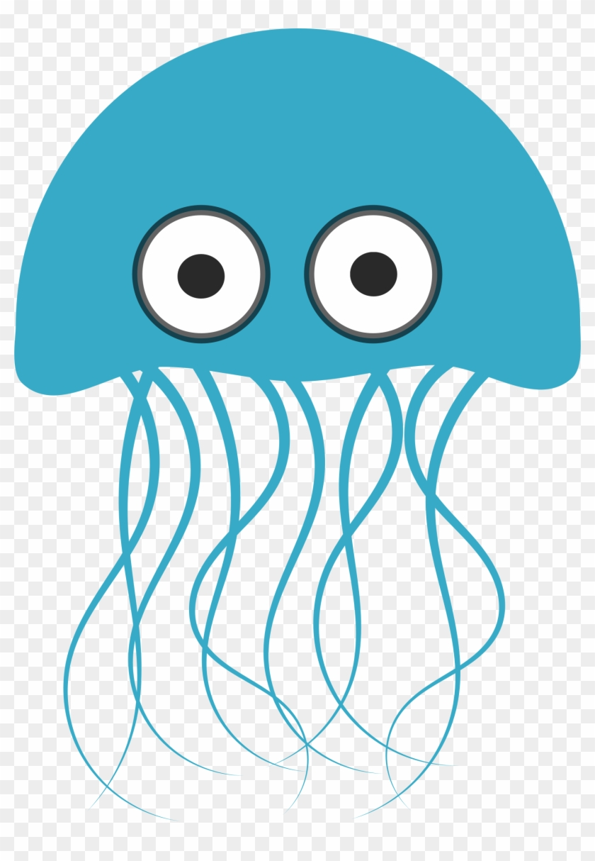Seahorse Clipart Black And White Jellyfish Line Animal - Light Blue Jellyfish Shower Curtain #389811