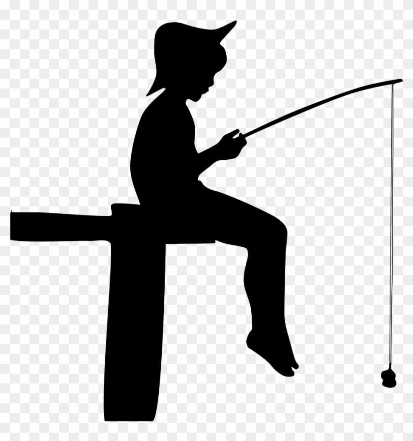 Fishing Boy Silhouette - Boy Fishing Silhouette #390034