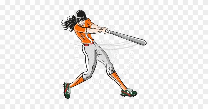 Softball Player Swinging Bat #390508