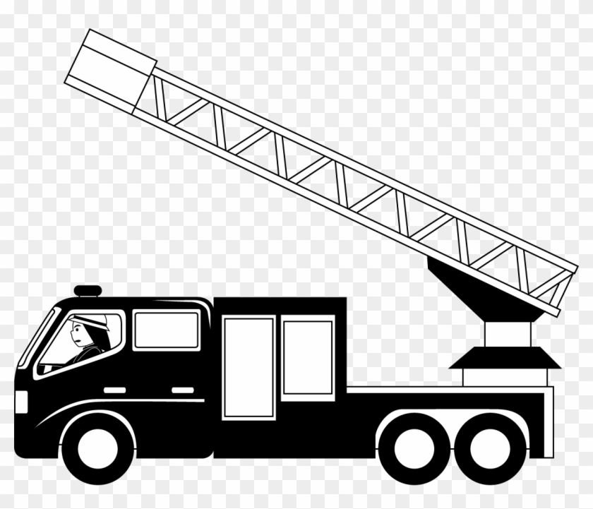 Fire Truck Clipart Black And White - Fire Truck Ladder Clip Art #390932