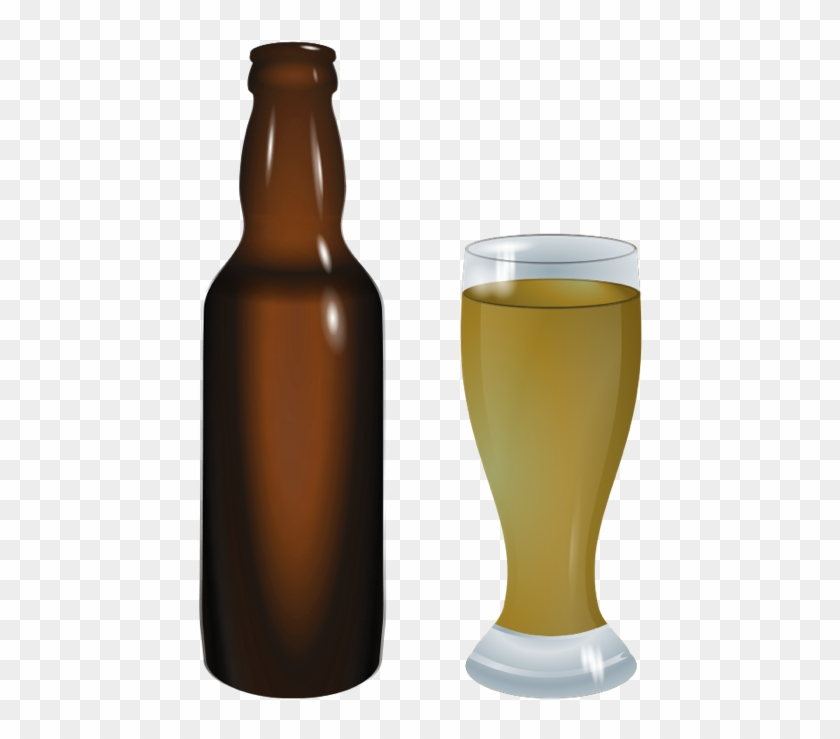 Beer Bottle Clip Art - Beer Bottle And Glass Png #391257