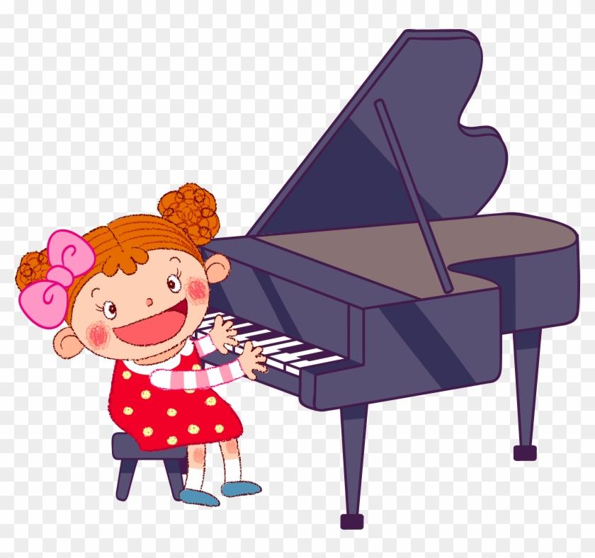 Baby Games Cartoon Illustration - Cartoon Girl Playing Piano #391917