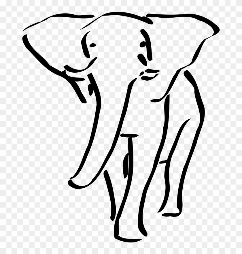 Elephant Outline Embroidery Design #392222