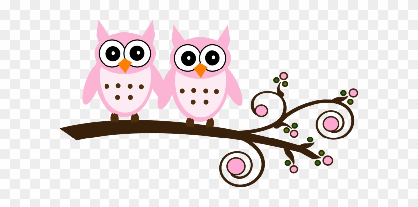 Twin Pink Owls On Branch Clip Art At Clker - Owl Clipart Baby Shower Girl Baby Owls #392613