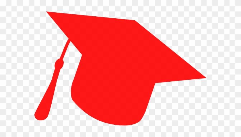Graduation Hat Silhouette Red Clip Art - Red Graduation Cap Clipart #392636