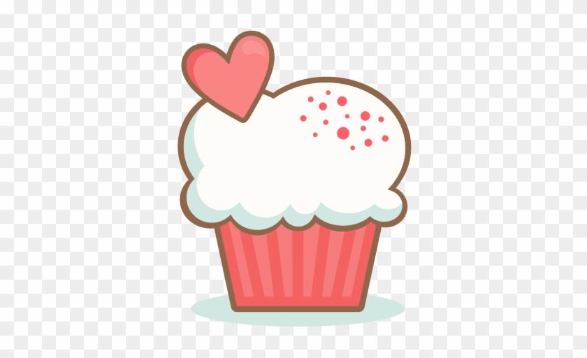 Vanilla Cupcake Clipart Heart - Cute Valentines Day Clipart #393153