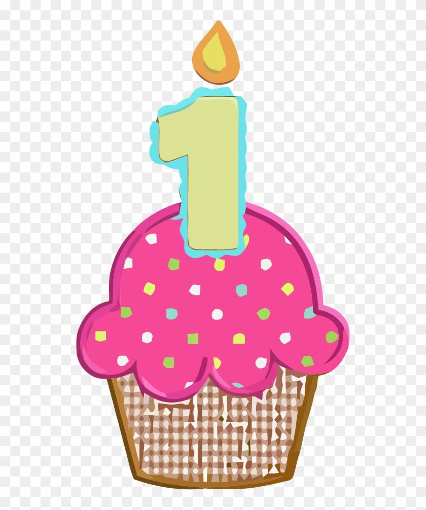 Birthday Cupcake Clipart - 1st Birthday Cupcake #393165