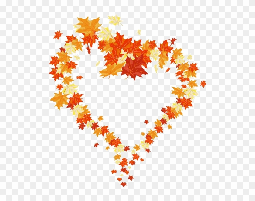 Falling Heart Cliparts - Fall Leaves Heart Clipart #393374