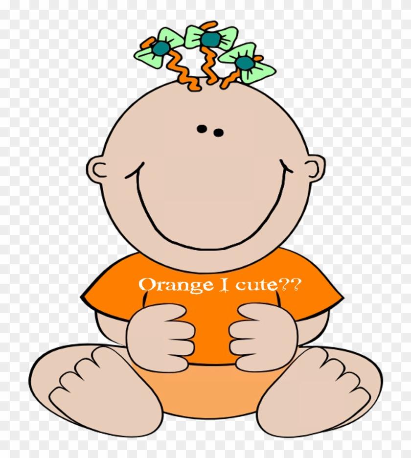 Baby Orange Cute Image - Baby Girl Clip Art #393584