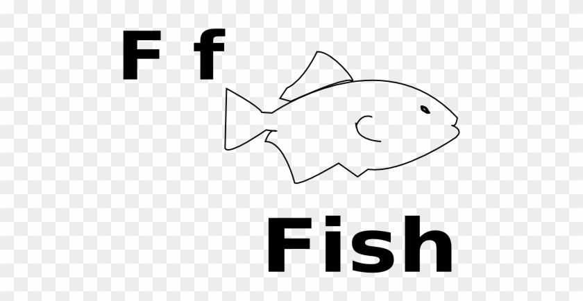 F For Fish Black White Line Art 555px - F Is For Fish Coloring Pages #393934