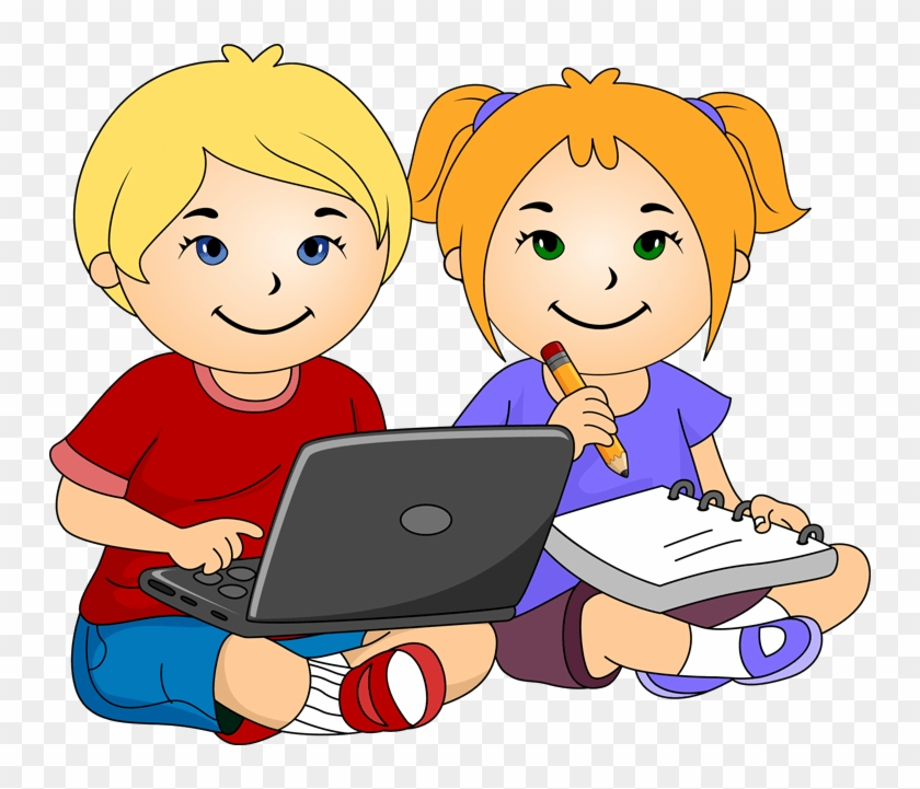 Laptop Clipart School Child - Boy And Girl Writing Clipart #394261