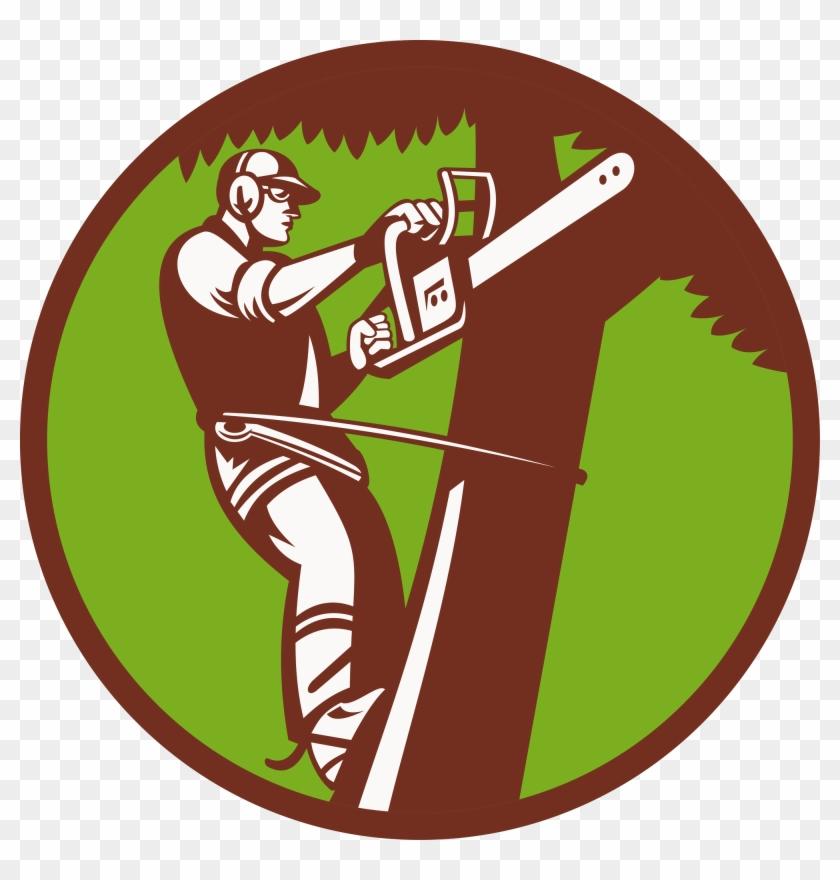 Tree Stump Arborist Logo Stump Grinder - Cutting Tree Illustration #394994