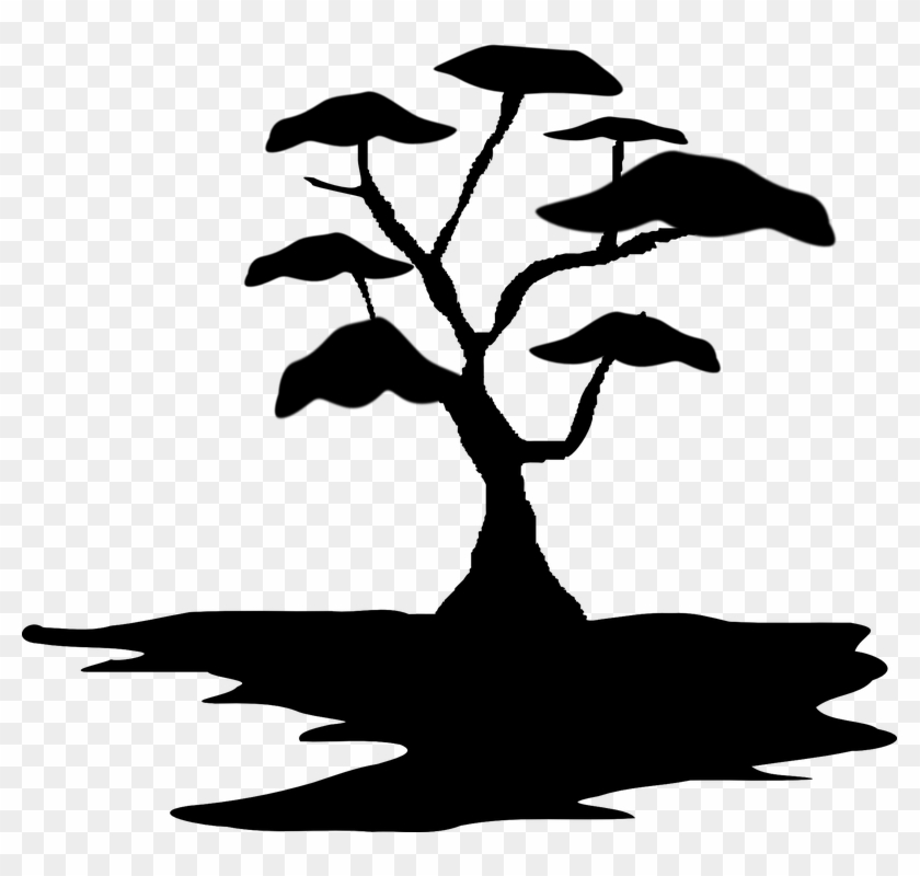 Bonsai Tree Clipart 9, - African Tree Silhouette Simple #395162