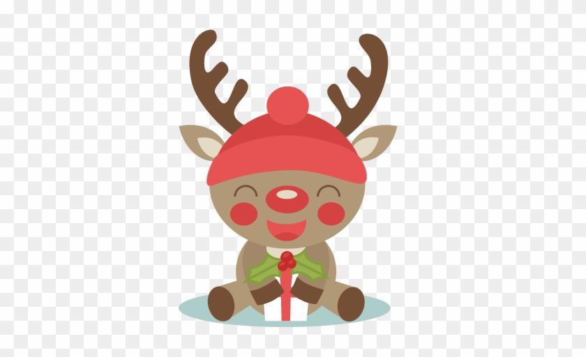 Christmas Reindeer Scrapbook Cut File Cute Clipart - Cute Christmas Reindeer Clipart #395197