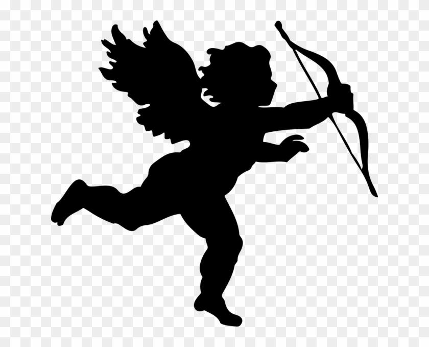 Angel, Arrow, Bow, Cartoon, Cherub, Chubby, Cupid - Cupid Silhouette #396597