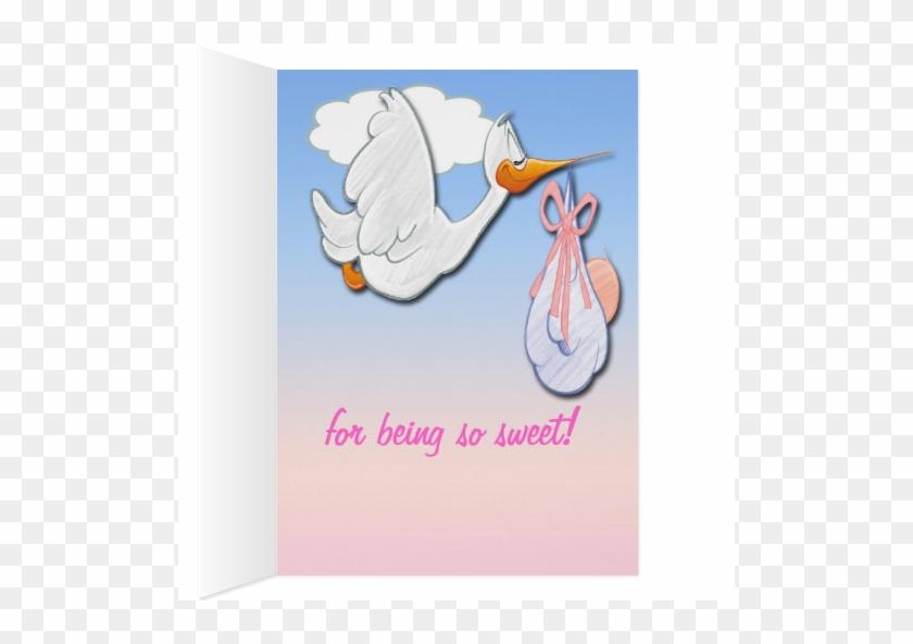 It\'s A Girl Stork Baby Shower Thank You Card - Es Ist Ein Mädchen ...