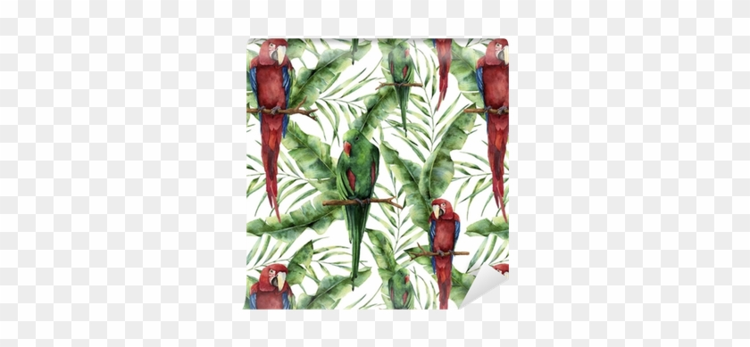 Watercolor Seamless Pattern With Parrots, Banana Palm - Hand Painted Parrot #397221