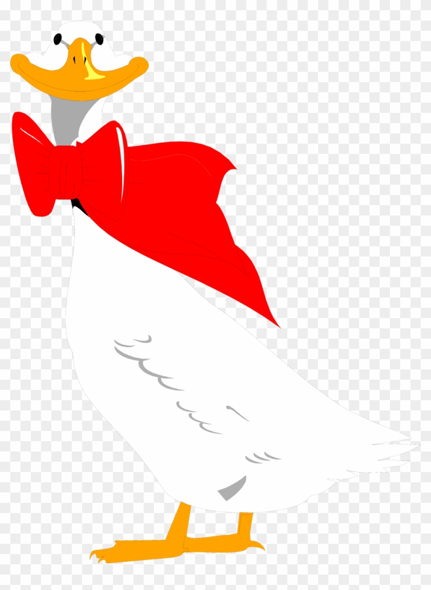 Illustration Of A Cartoon Goose With A Red Bow On - Goose #397260