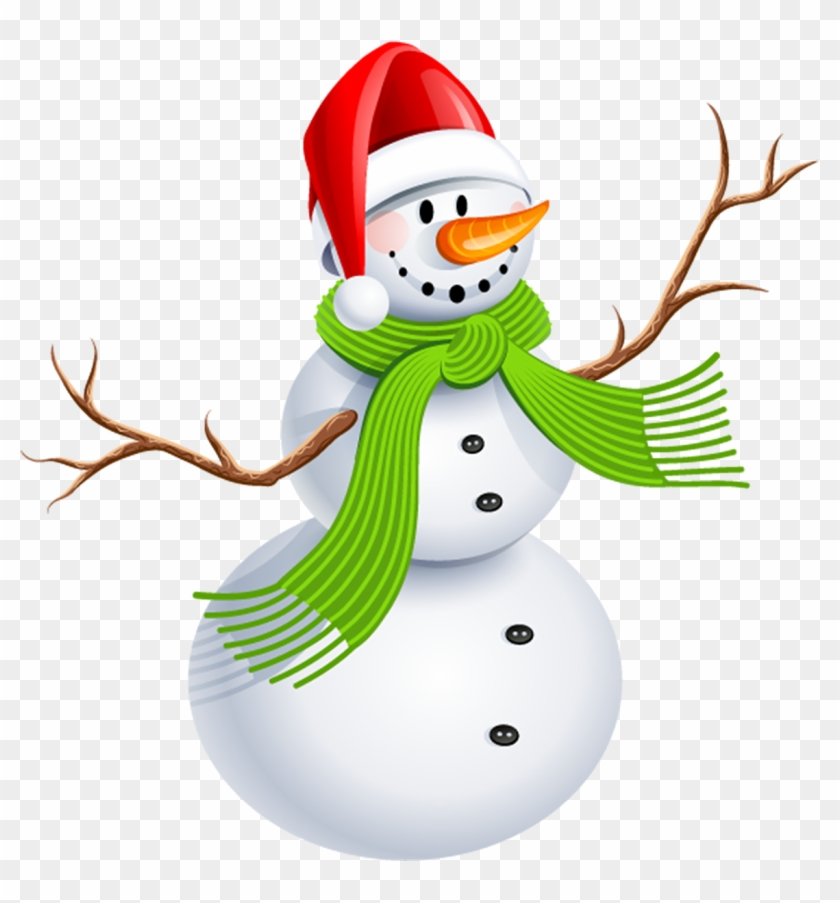Snowman With Green Scarf Png Clipart Picture - Christmas Snowman Clipart Png #397469