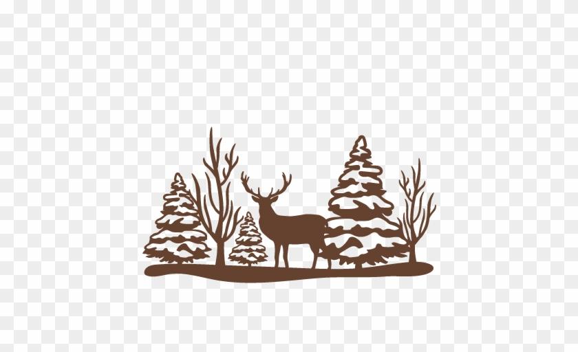 Reindeer Winter Scene Svg Scrapbook Cut File Cute Clipart - Winter Silhouette Png #397484