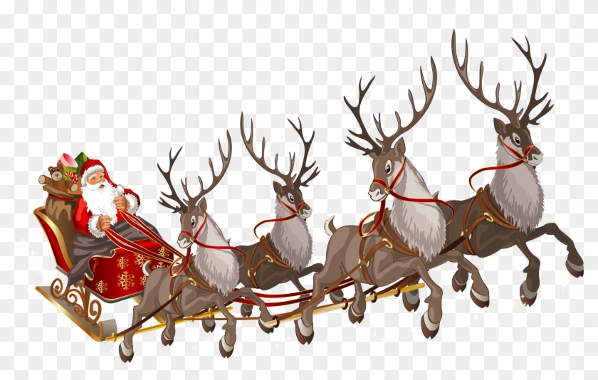 Santa Claus In Sleigh Clipart - Santa Sleigh No Background #397485