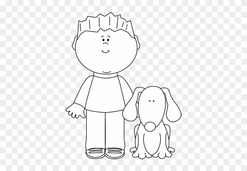 Black And White Boy With His Pet Dog Clip Art Black And White
