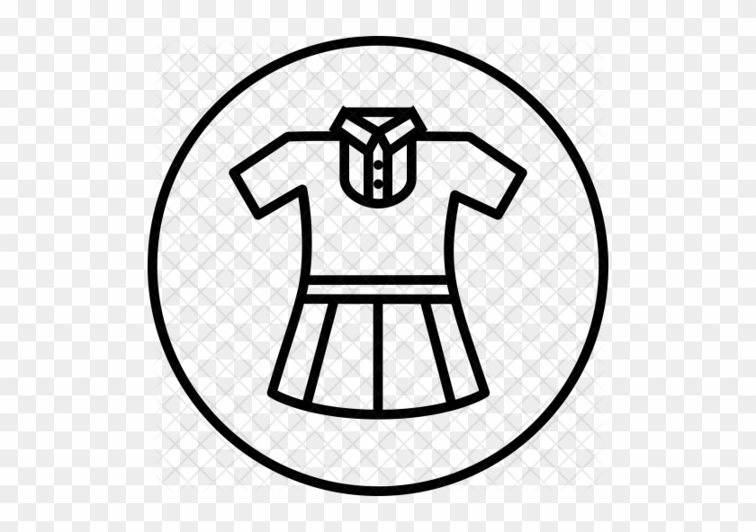 Girl, Uniform, Cloth, School, Study Icon - School Uniform Clipart Black And White #398257