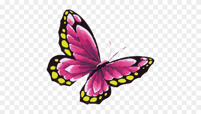 Pink Butterfly Tattoo In Watercolor Art With Yellow - Water Color Butterfly Png #399056