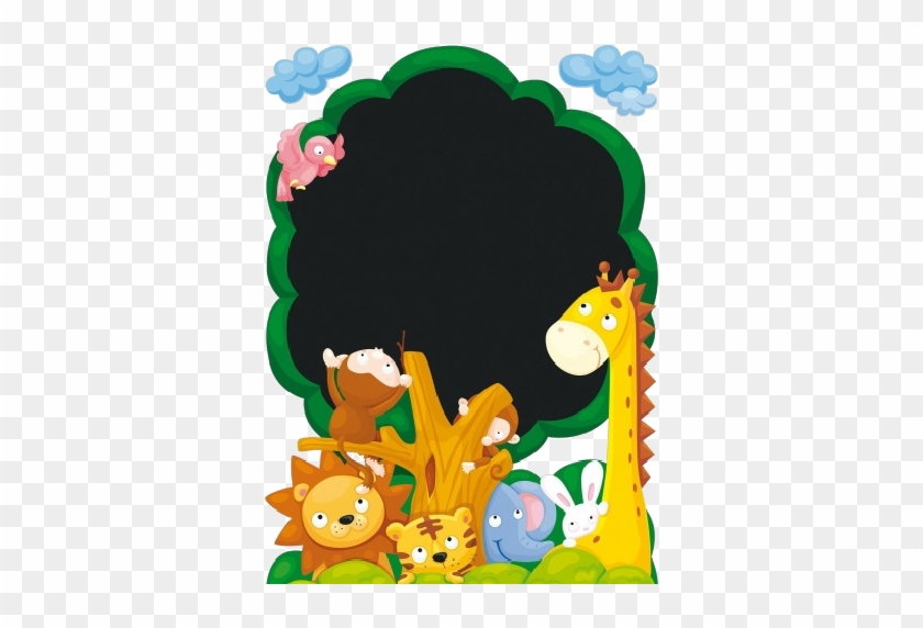 Cartoon Animal Group Image - Deco Sticker Jungle Tree #399175