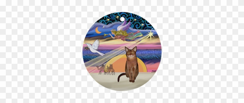 Xmas Star & Abyssinian Ornament (round)> Ruddy Color> - Xmas Star & Abyssinian Ornament (round) #399434