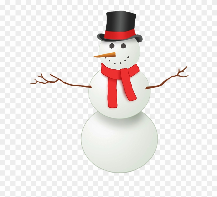 Snowman With Top Hat And Red Scarf - Snowman With Red Scarf Clipart #399578