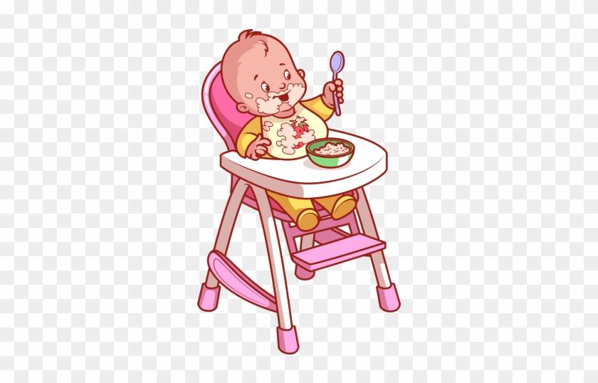 4c4f4ad07889 Clipart Mama Masasında Yemek Yiyen Bebek - Baby In Highchair Clipart ...