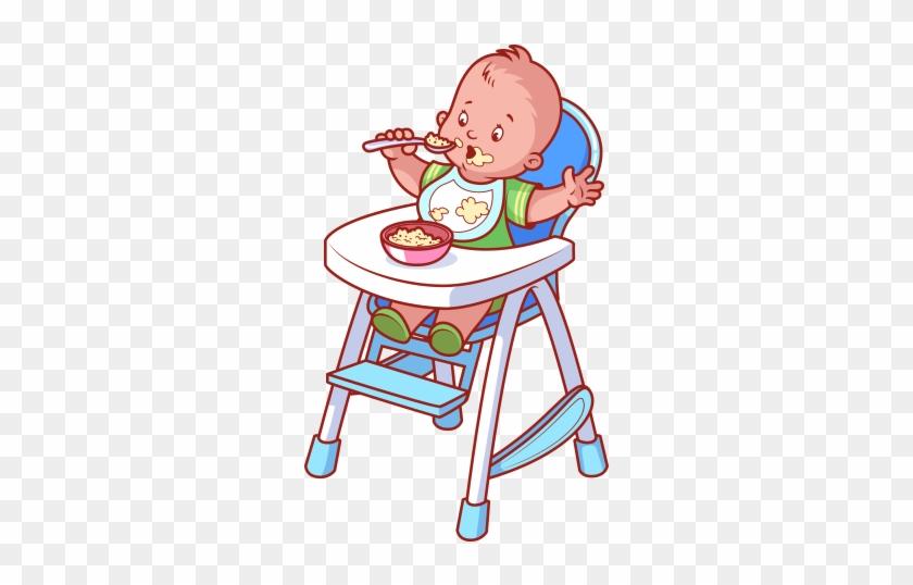 21a8b3f7973e Clipart Mama Yiyen Bebek - Cartoon Baby In High Chair - Free ...
