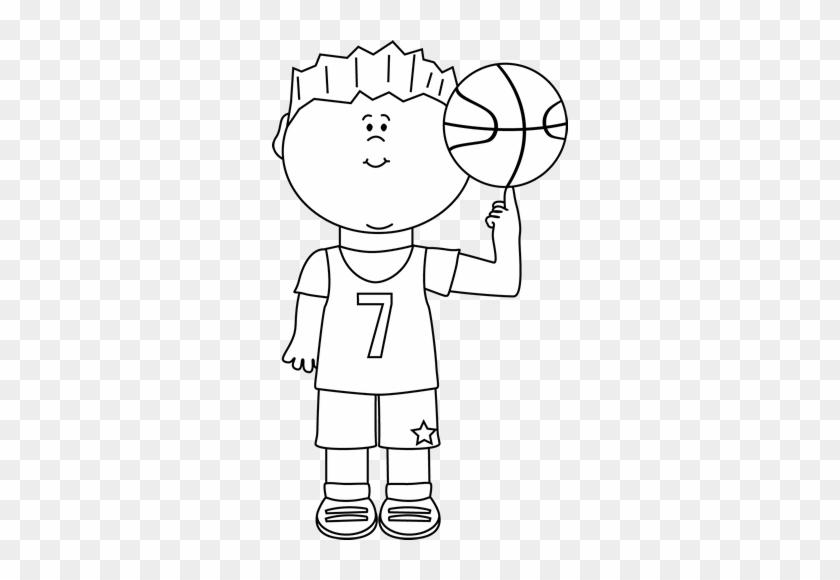 Kid Sports Clip Art Black And White - Boy Playing Basketball Clip Art Black And White #402119